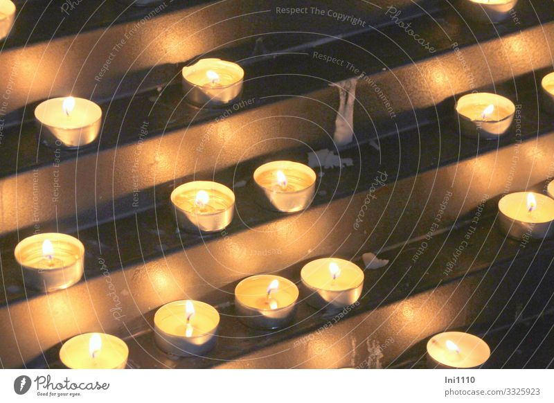 tea lights in a church Church Dome Metal Sign Brown Yellow Gold Remember Tea warmer candle Memory Religion and faith Warm-heartedness Illuminate Death Wax Wick