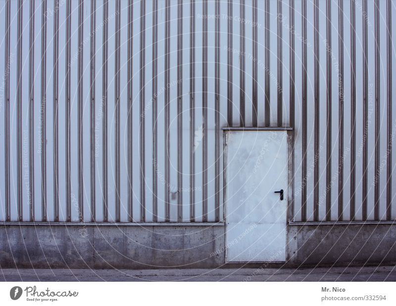 Wall (building) Architecture Wall (barrier) Building Line Facade Door Dirty Closed Simple Factory Manmade structures Gate Entrance Warehouse Hall