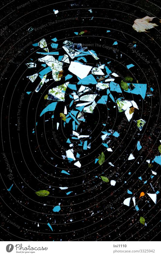Broken mirror Garden Mirror Glass Multicoloured Black Wall (building) Mosaic Reflection Point Dangerous Rear side What a pity Gale Shard Exterior shot Caution