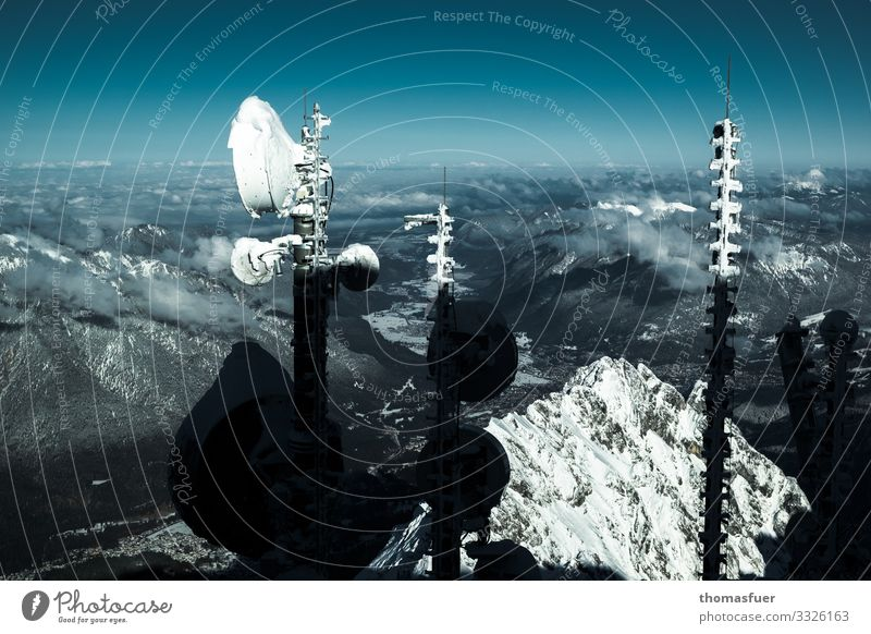 Iced radio antennas on the Zugspitze with view Vacation & Travel Trip Far-off places Winter Snow Winter vacation Mountain Broadcasting tower Antenna Technology