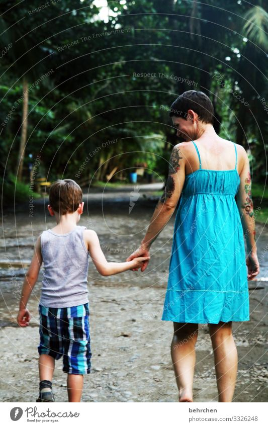 hand in hand Vacation & Travel Tourism Trip Adventure Far-off places Freedom Child Woman Adults Parents Mother Family & Relations Infancy Body Skin Head