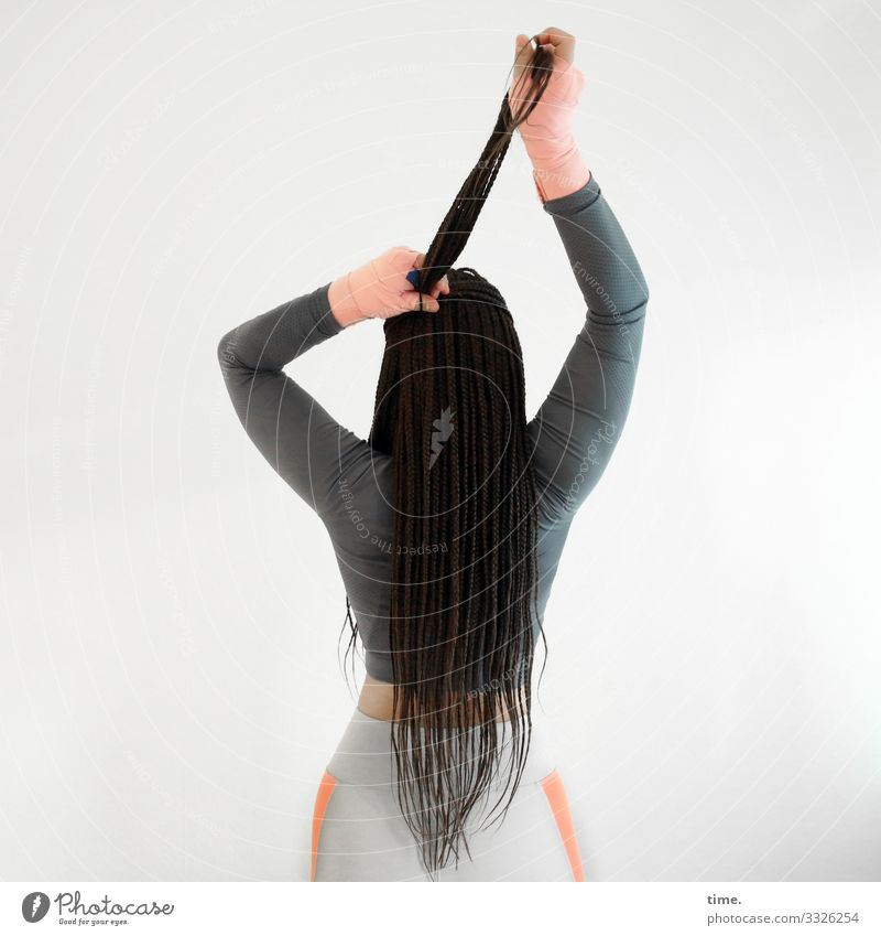 Nikoliya Feminine Woman Adults 1 Human being T-shirt Pants Bandage Hair and hairstyles Brunette Long-haired Braids To hold on Stand Esthetic Athletic Passion
