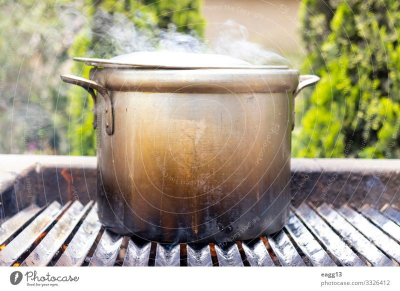 Preparation of soup in a pot, in nature. Meat Soup Stew Pot Vacation & Travel Camping Kitchen Nature Warmth Forest Mobile home Metal Large Hot Tradition