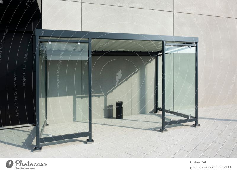 Smoking shelter Design Park Transport Bus Bus stop Station roofed smoking area rain shelter transparent Glass front Zone Stop (public transport) Break