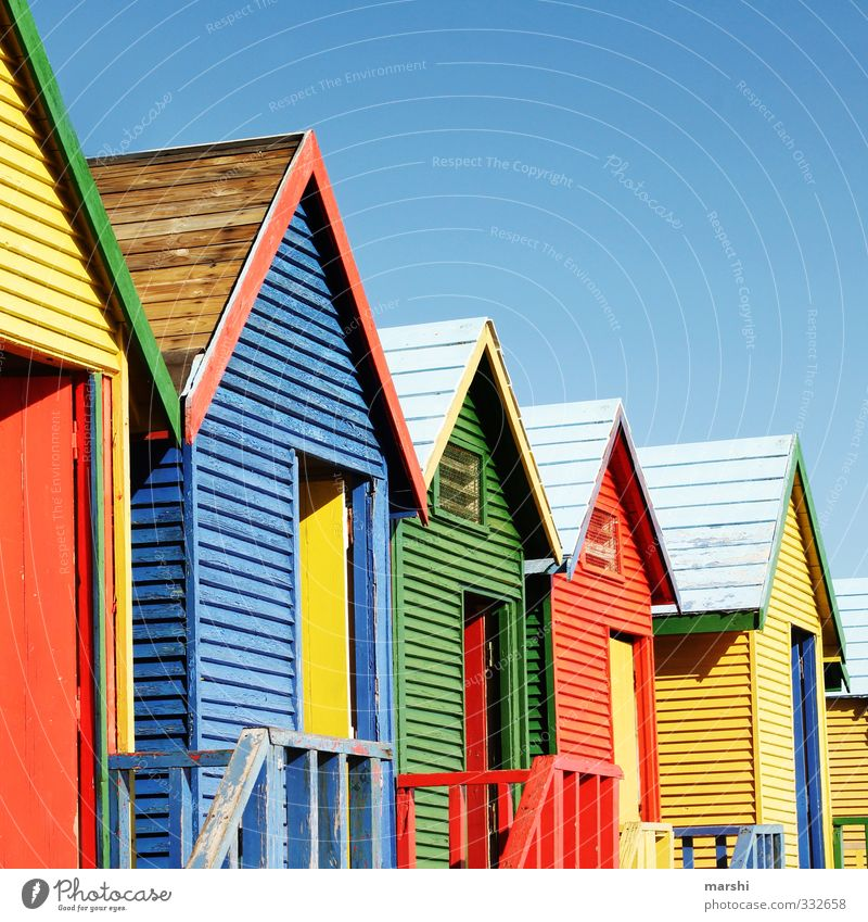 colourful beach life Leisure and hobbies Vacation & Travel Tourism Trip Summer Summer vacation Sunbathing Beach Ocean House (Residential Structure)
