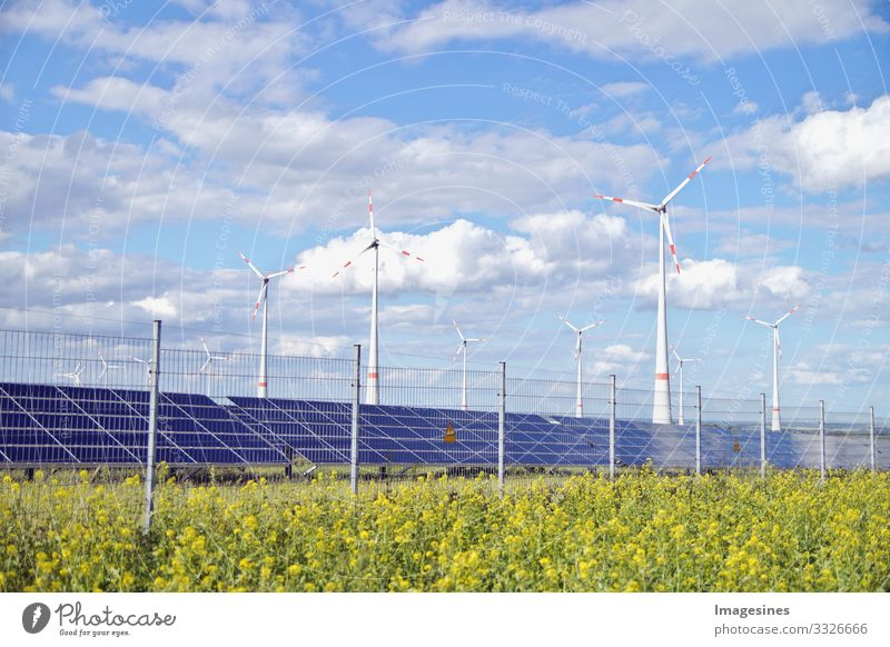 "Renewable Energies Technology Energy industry Solar Power Wind energy plant Energy crisis Industry Environment Nature Landscape Meadow Field ""solar system"