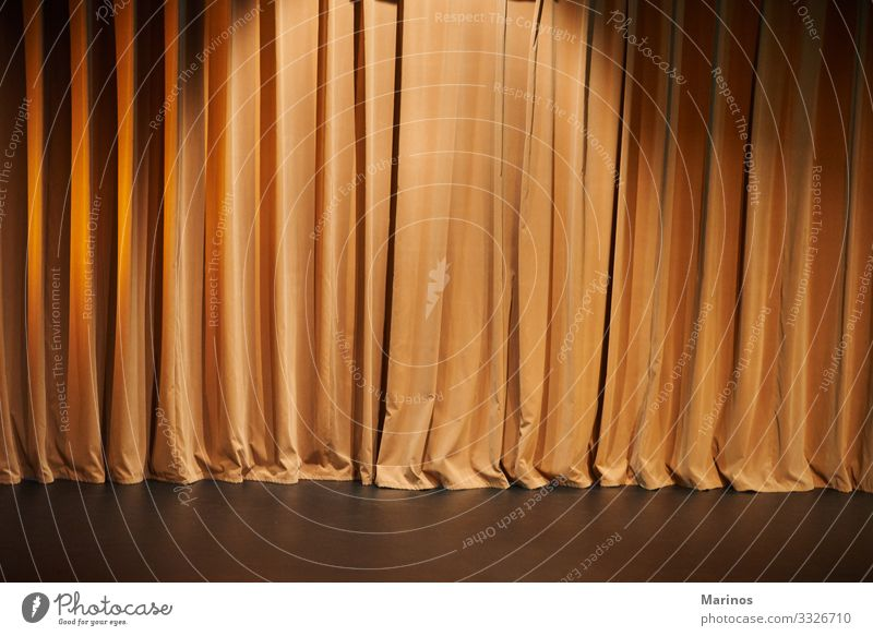 Brown curtains of a theater as background. Entertainment Award ceremony Art Theatre Concert Orchestra Cinema Cloth Dark Curtain stage Velvet movie performance