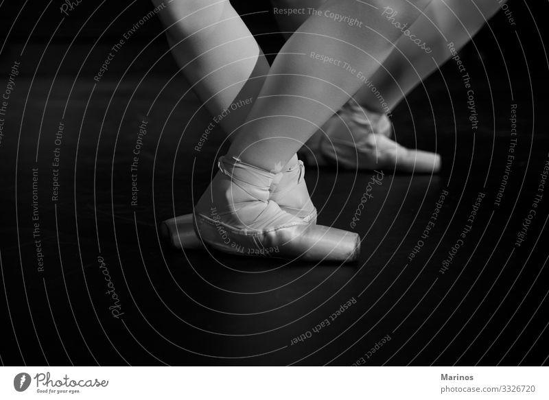 Closeup legs of ballerinas during a performance.Ballet dancers. Elegant Beautiful Dance Woman Adults Art Dancer Footwear Modern Black White performer Classic