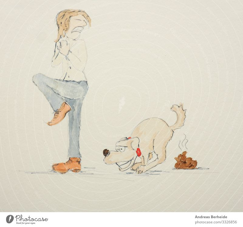 Dog owner is disgusted of the dog poo Joy Human being 1 Pet Animal Love of animals Disgust train defecate friend Illustration drawing Living thing cute Joke