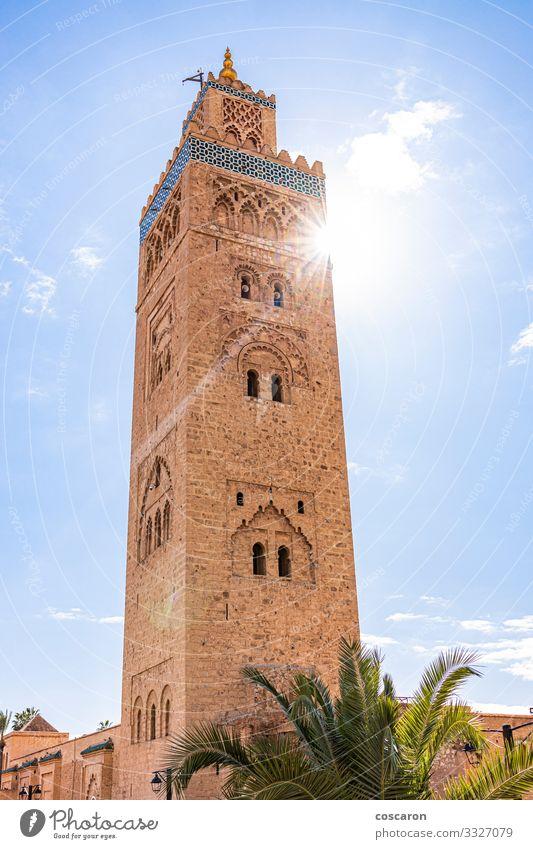 Koutoubia Mosque minaret located at medina quarter of Marrakesh Vacation & Travel Tourism Trip Summer Summer vacation Culture Sky Sun Sunlight Spring Town