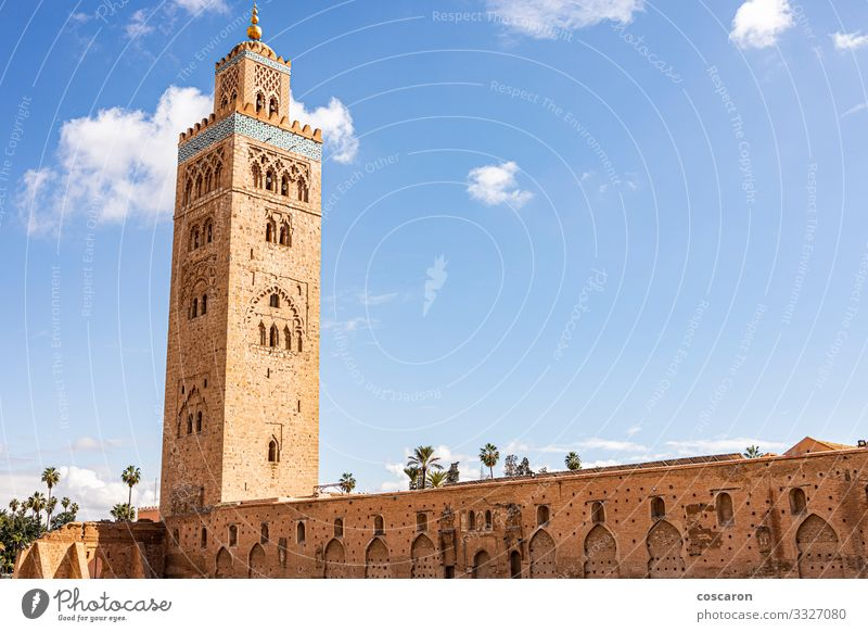 Koutoubia Mosque minaret located at Marrakech Vacation & Travel Tourism Trip Summer Summer vacation Art Sky Small Town Capital city Downtown Populated Church