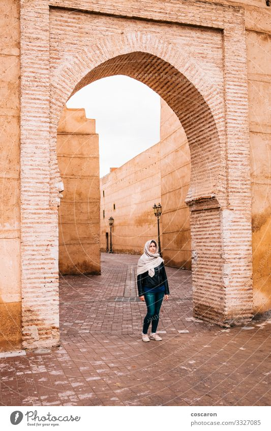 Arabic woman on the streets of Marrakech, Morocco Lifestyle Elegant Exotic Vacation & Travel Tourism Trip Sightseeing Winter House building Human being Feminine