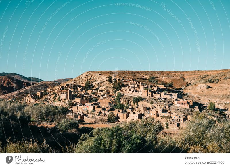 The Berber village of Asni comprised of clay houses Vacation & Travel Tourism Mountain Hiking House (Residential Structure) Nature Landscape Sky Tree Meadow