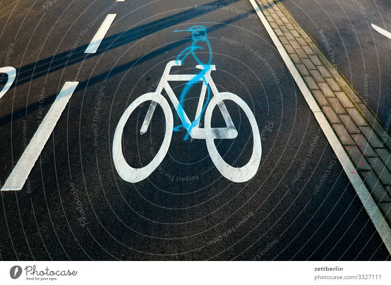 bicycle path Turn off Asphalt Corner Lane markings Bicycle Cycling Cycling tour Signage Illustration Curve Line Man Signs and labeling Human being Navigation