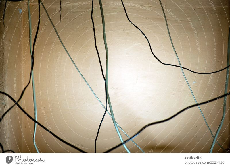 cord Chaos Muddled Cable Electricity Installations Maze Deserted Puzzle Desk Copy Space Untidy Living or residing Transmission lines