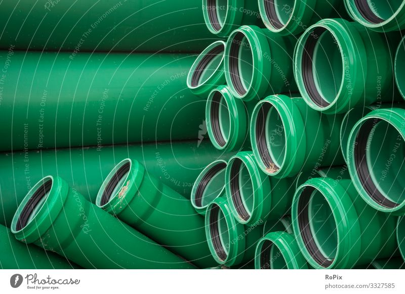 Water supply pipes on a construction site. Lifestyle Style Design Living or residing Science & Research Work and employment Profession Workplace