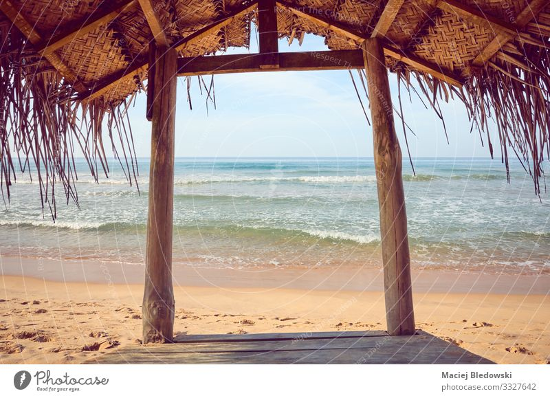 Tropical beach wooden shade. Lifestyle Relaxation Calm Meditation Vacation & Travel Tourism Trip Freedom Summer Summer vacation Beach Ocean Island Nature Sand