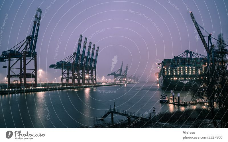 and it's still drizzling Port City Harbour Logistics Navigation Container ship Watercraft Port of Hamburg crane Dark Maritime Fog Rain Elbe burchardkai