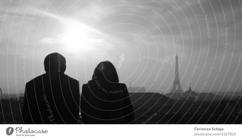 Paris Sightseeing City trip Human being Couple Partner 2 Capital city Skyline Tower Tourist Attraction Eiffel Tower Observe Communicate To talk Dream Gray