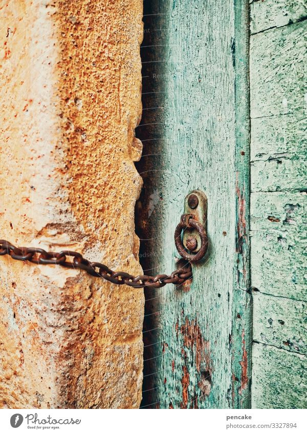 chain reaction Chain Door Old Entrance locked Lock Green Yellow Italy Wall (barrier) Facade Architecture Exterior shot Manmade structures