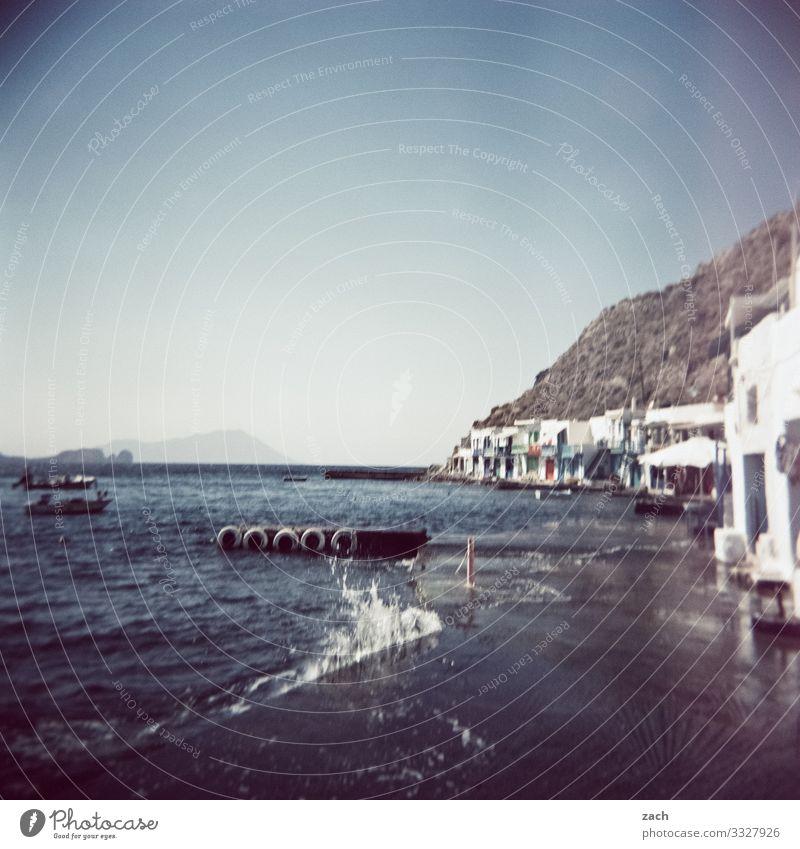 Living by the water Landscape Hill Rock Coast Ocean Mediterranean sea Aegean Sea Island Cyclades Milos Greece Village Fishing village Deserted