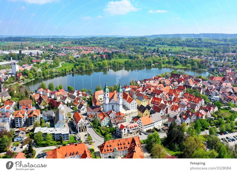 Bad Waldsee Beautiful Tourism Trip Sightseeing City trip Summer Sun Clouds Weather Town Old town Skyline Architecture Roof Tourist Attraction Landmark Monument
