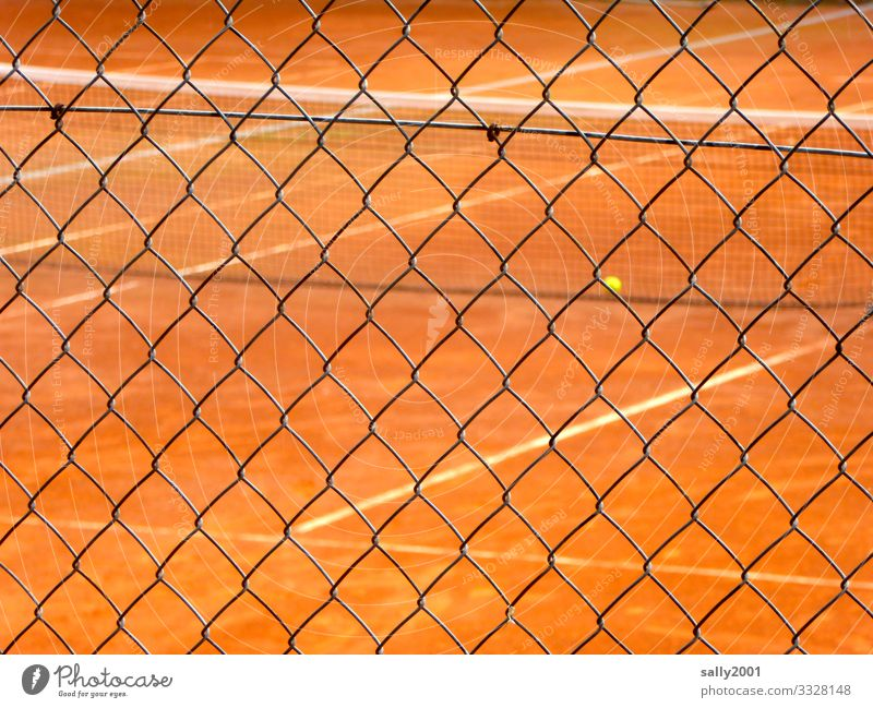 Tennis court on the outside... Tennis ball Sand place Tennis Game Red Yellow Wire netting fence cordon Safety forbidden Collateralization Protection Sports