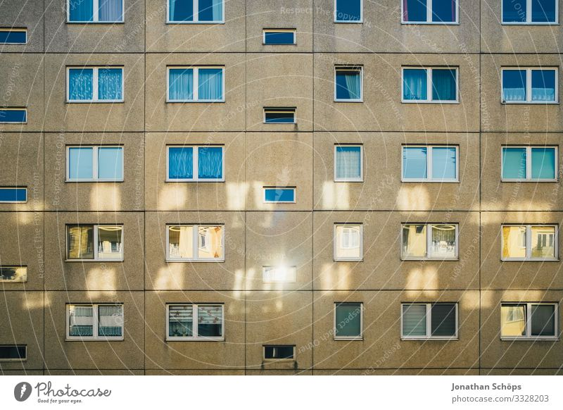 Facade with reflections in Chemnitz House (Residential Structure) Town Downtown Outskirts Populated Overpopulated Manmade structures Building Architecture