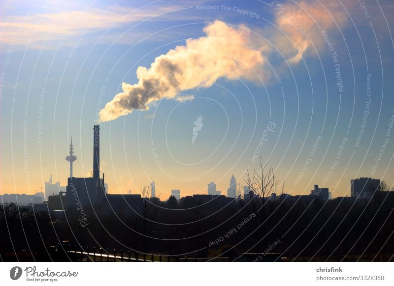 Smoking chimney in front of big city Living or residing Economy Industry Advancement Future Energy industry Energy crisis Environment Clouds Sunlight Climate