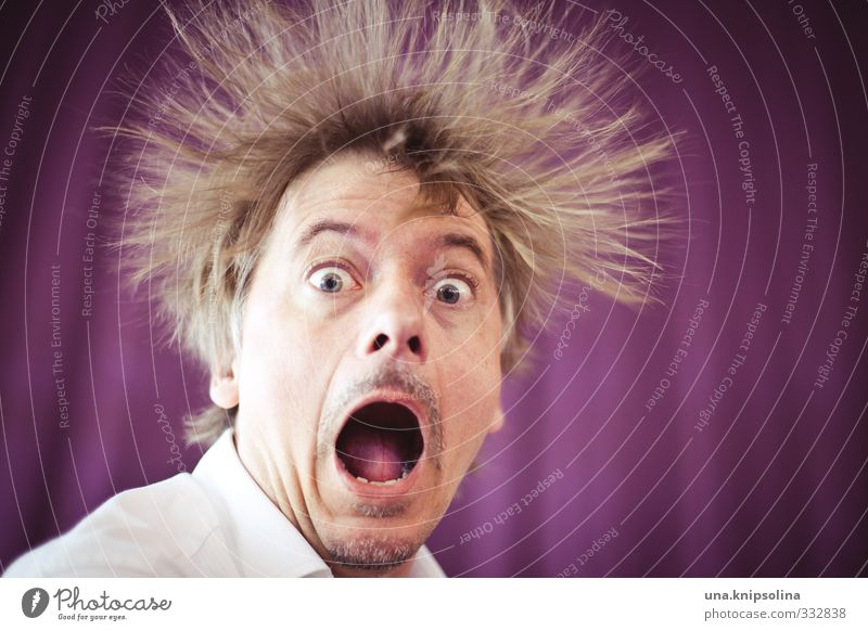 Human being Man Joy Face Adults Emotions Funny Hair and hairstyles Exceptional Blonde Stand Crazy Electricity Creativity Curiosity Facial hair