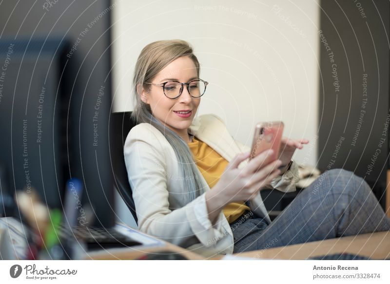 Beauty woman working happy at office, phone distraction Elegant Work and employment Profession Workplace Office Business Company Telephone PDA Internet Woman
