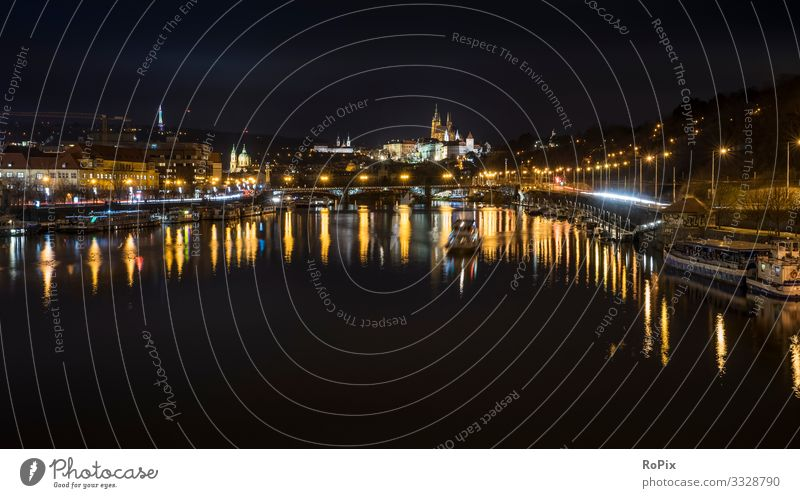 City of Prague at night. Lifestyle Luxury Style Design Relaxation Vacation & Travel Tourism Sightseeing City trip Economy Trade Services Environment Nature