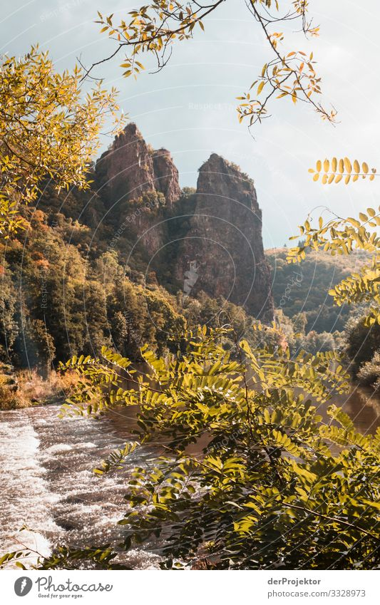 Red rock on the Nahe river Vacation & Travel Tourism Trip Adventure Far-off places Freedom Cycling tour Hiking Beautiful weather Rock River bank Esthetic
