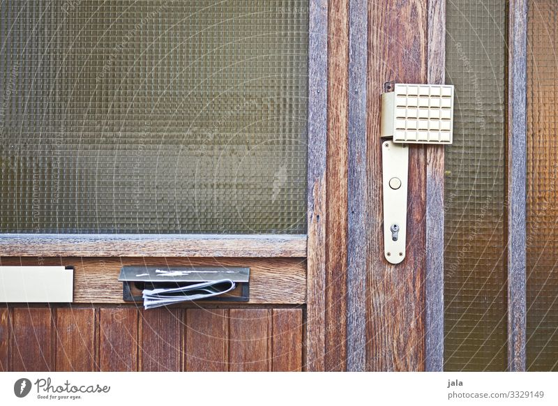 mail Building Window Door Bell Mailbox Old Simple Advertising Vintage Colour photo Exterior shot Deserted Day
