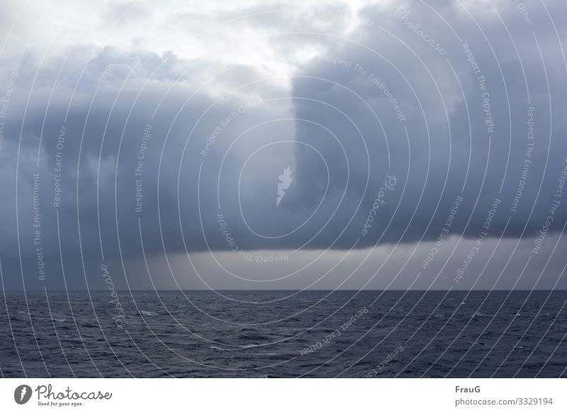 Weather is moving in | Climate change Ocean Horizon Cloud formation weather front Far-off places Nature Clouds Deserted Sky Raincloud Baltic Sea Crossing