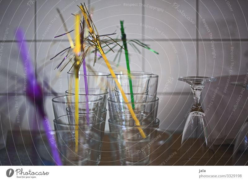 party Glass Straw Lifestyle Joy Party Event Feasts & Celebrations Drinking Esthetic Happiness Kitsch Colour photo Interior shot Deserted