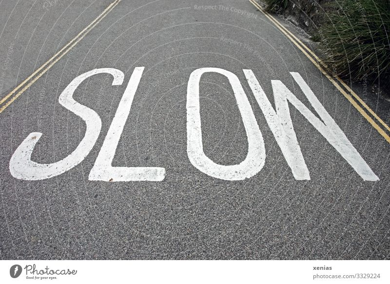 slow - white writing on grey road Street Asphalt England Transport Traffic infrastructure Yellow Gray White Slowly 30 mph zone Subdued colour Copy Space top