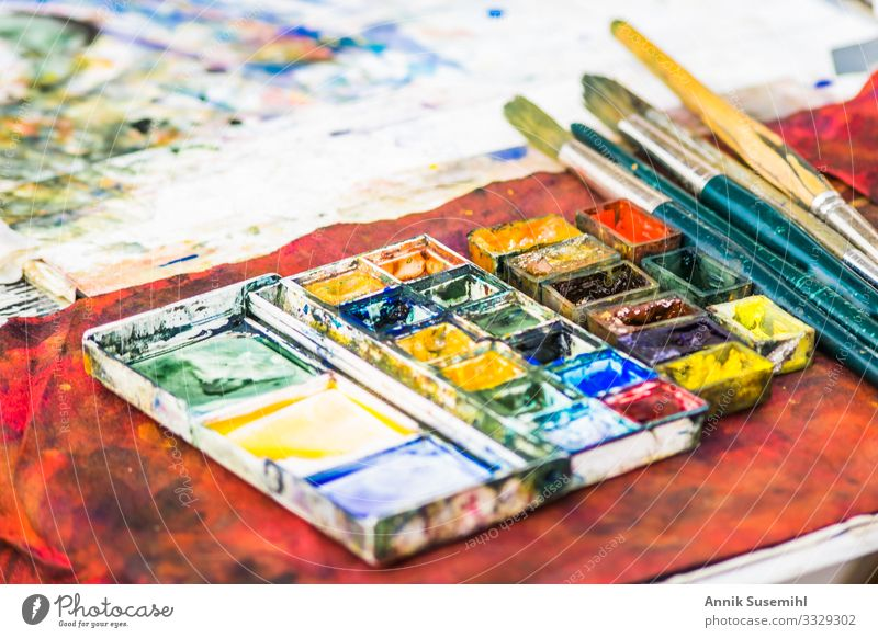 Colourful palette of a street painter Design Painting (action, artwork) Artist Painter Painting and drawing (object) Deserted Paintbrush Draw Beautiful Blue