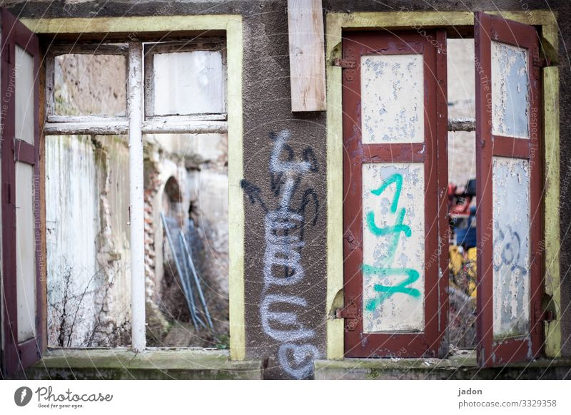 Town House (Residential Structure) Window Graffiti Wall (building) Love Building Wall (barrier) Facade Characters Broken Construction site Information Hope