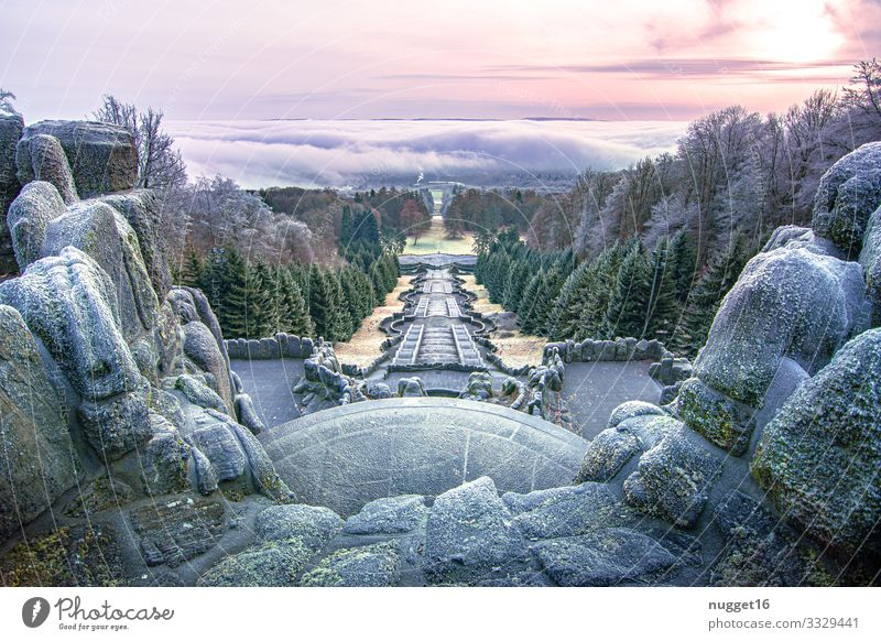 Kassel under a fog cover Vacation & Travel Tourism Trip Mountain Hiking Work of art Architecture Environment Nature Landscape Sky Clouds Horizon Sunrise Sunset