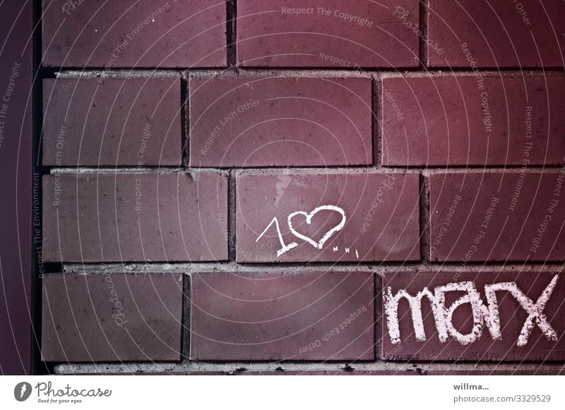 I love Marx - Cretaceous period and love of philosophy Wall (barrier) Wall (building) Brick Brick wall Sign Characters Graffiti Heart Chalk drawing marx