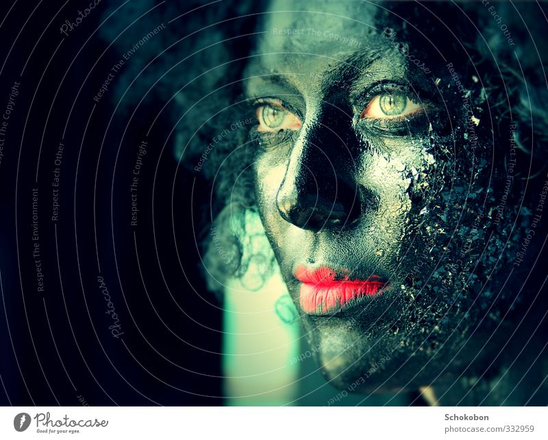 black is beautiful Feminine Skin Head Hair and hairstyles Face Eyes Mouth Lips 1 Human being Mask Black-haired Curl Wig Dreadlocks Afro Crystal Observe Touch