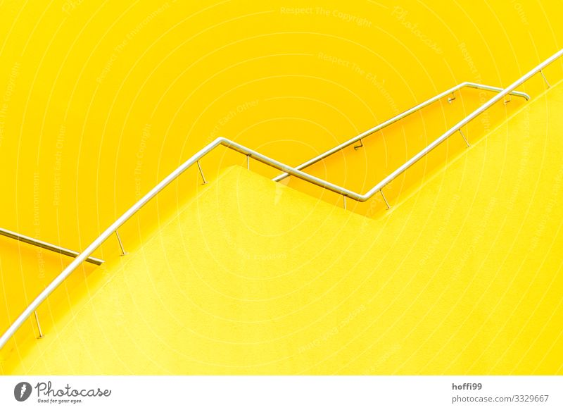 yellow staircase Building Wall (barrier) Wall (building) Stairs Handrail Banister Staircase (Hallway) Line Esthetic Simple Bright Modern Town Yellow Silver