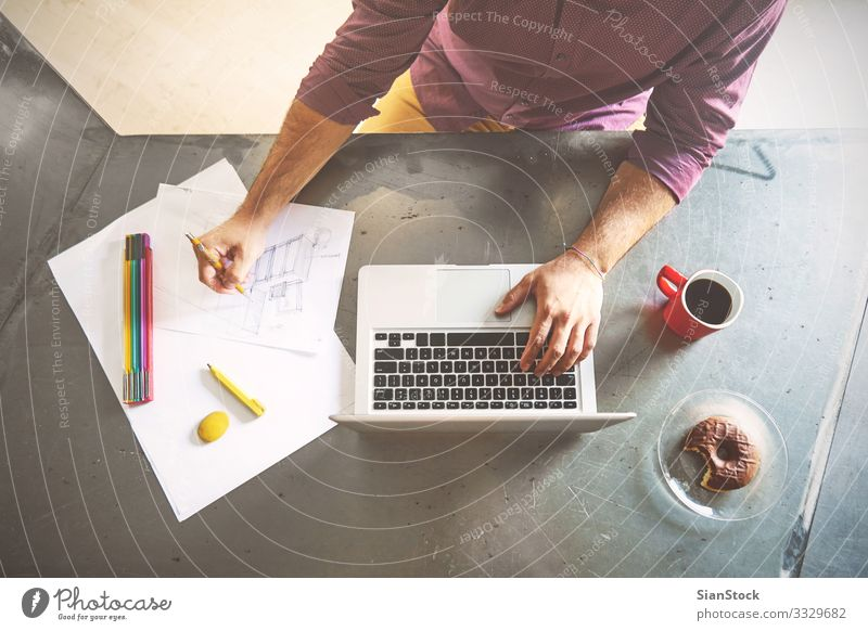 Top view of architect man working at computer in office Food Breakfast Coffee Design Desk Table Work and employment Profession Workplace Office Business