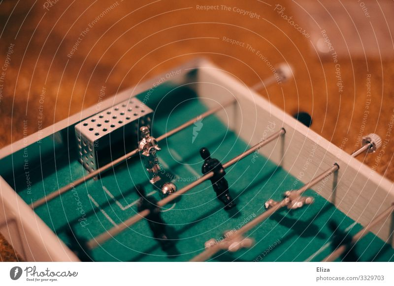 table football Sports Fitness Sports Training Ball sports Soccer Playing Table soccer Joy Party Goalkeeper Colour photo Interior shot Deserted Copy Space left