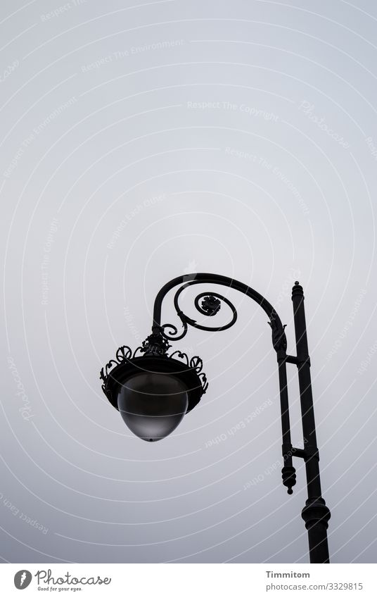Honorable Lamp Sky Clouds Bad Brückenau Glass Metal Esthetic Blue Gray Black Emotions Calm Lantern Park lighting Exterior shot Deserted Day Evening