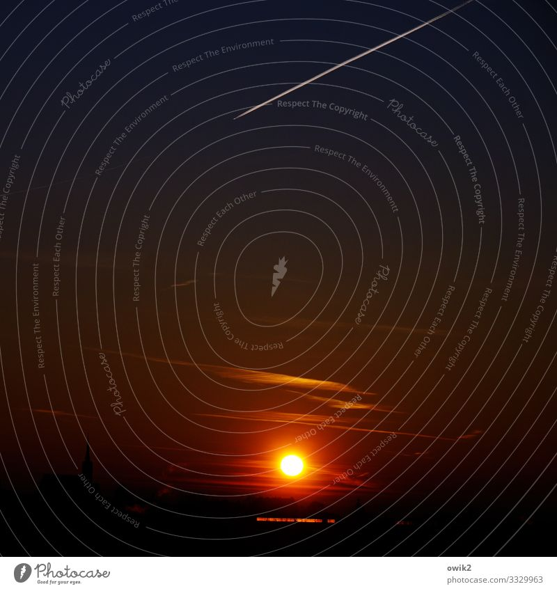 Old Star Sky Horizon Sun Beautiful weather Aviation Airplane Vapor trail Flying Illuminate To console Grateful Eternity Transience Dusk cirrostratus clouds