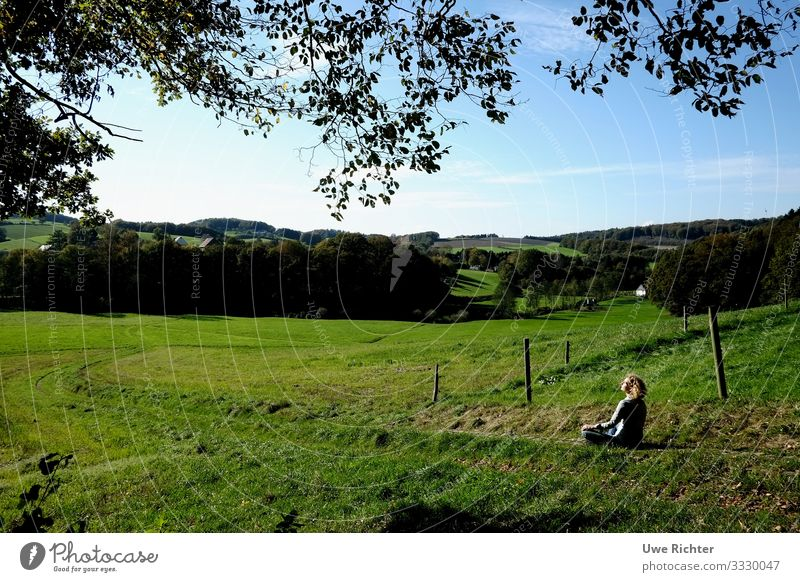 Woman in yoga pose in nature Feminine Adults 1 Human being 45 - 60 years Nature Landscape Field Breathe Relaxation Contentment Power Safety (feeling of)
