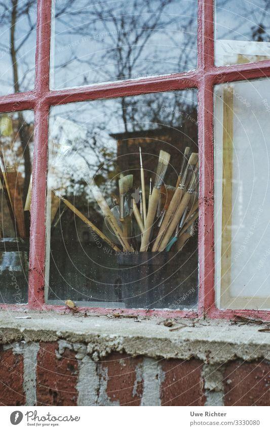 Brush behind window pane Leisure and hobbies Handicraft Art Creativity Colour photo Exterior shot Day