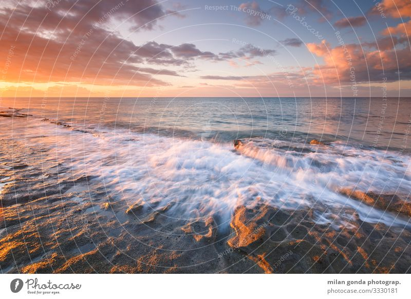 Crete. Beach Ocean Nature Rock Coast Serene Europe Mediterranean Greece Greek Ierapetra St. Andrew beach seascape wave Morning Sunrise Sunset Long exposure